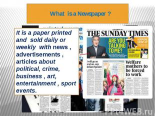 What is a Newspaper ?