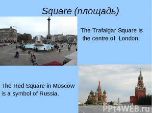 The Trafalgar Square is The Trafalgar Square is the centre of London. The Red Sq