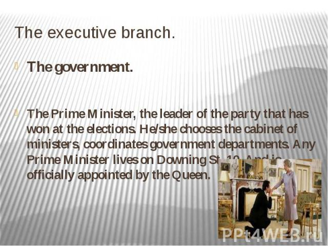 The executive branch. The government. The Prime Minister, the leader of the party that has won at the elections. He/she chooses the cabinet of ministers, coordinates government departments. Any Prime Minister lives on Downing St.,10. And is official…