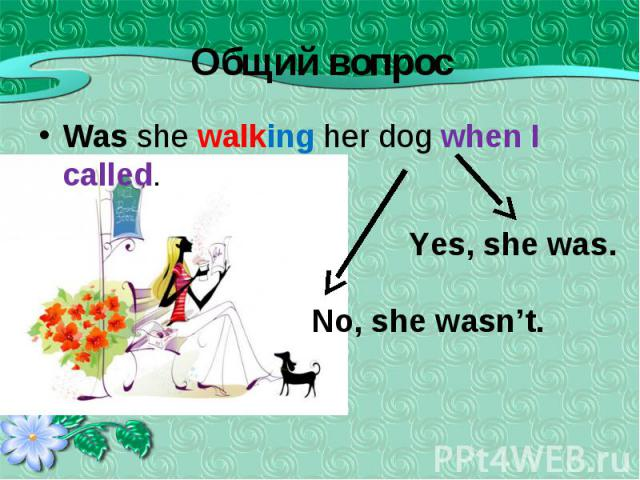 Was she walking her dog when I called. Was she walking her dog when I called.