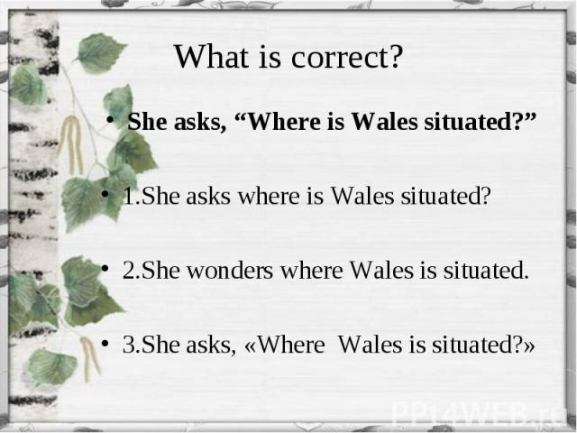 """She asks, """"Where is Wales situated?"""" She asks, """"Where is Wales situated?"""" 1.She asks where is Wales situated? 2.She wonders where Wales is situated. 3.She asks, «Where Wales is situated?»"""