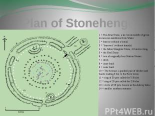 Plan of Stonehenge 1 = The Altar Stone, a six ton monolith of green micaceous sa