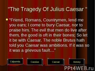 """Friend, Romans, Countrymen, lend me you ears; I come to bury Caesar, nor to pra"