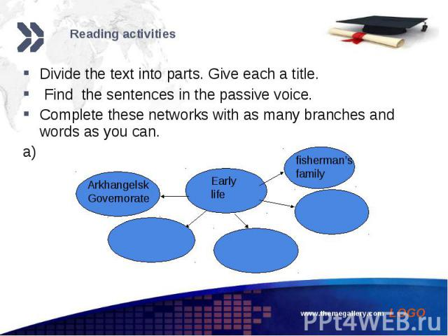 Divide the text into parts. Give each a title. Divide the text into parts. Give each a title. Find the sentences in the passive voice. Complete these networks with as many branches and words as you can. a)