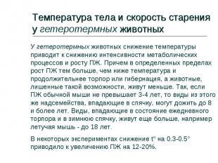 Температура тела и скорость старения у гетеротермных животных