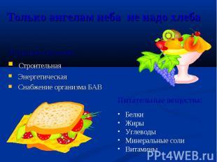 Функции питания: Функции питания: Строительная Энергетическая Снабжение организм