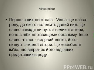 Vinca minor Перше з цих двох слів - Vinca -це назва роду, до якого належить дани