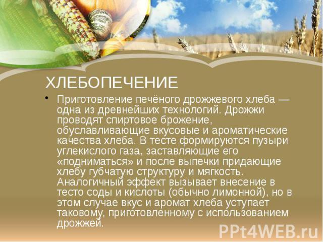 ХЛЕБОПЕЧЕНИЕ Приготовление печёного дрожжевогохлеба— одна из древнейших технологий. Дрожжи проводят спиртовое брожение, обуславливающиевкусовыеиароматические качества хлеба. Втестеформируются пузыри углекисл…
