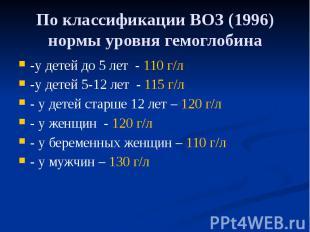 По классификации ВОЗ (1996) нормы уровня гемоглобина -у детей до 5 лет - 110 г/л