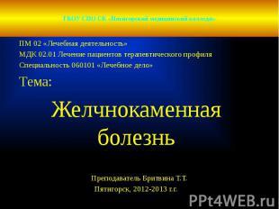 ГБОУ СПО СК «Пятигорский медицинский колледж» ПМ 02 «Лечебная деятельность» МДК