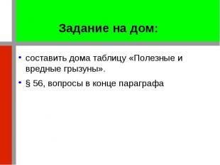 Задание на дом: составить дома таблицу «Полезные и вредные грызуны». § 56, вопро