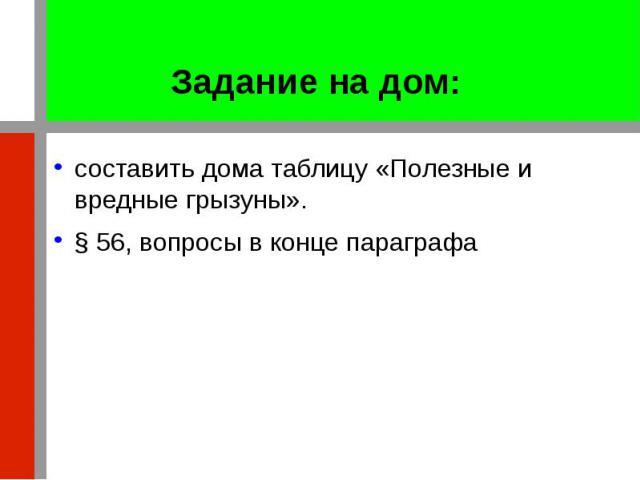 Задание на дом: составить дома таблицу «Полезные и вредные грызуны». § 56, вопросы в конце параграфа