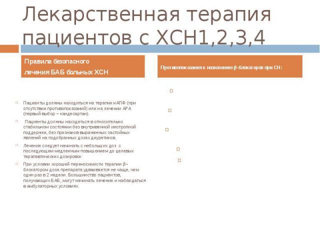 Лекарственная терапия пациентов с ХСН1,2,3,4 Правила безопасного лечения БАБ больных ХСН