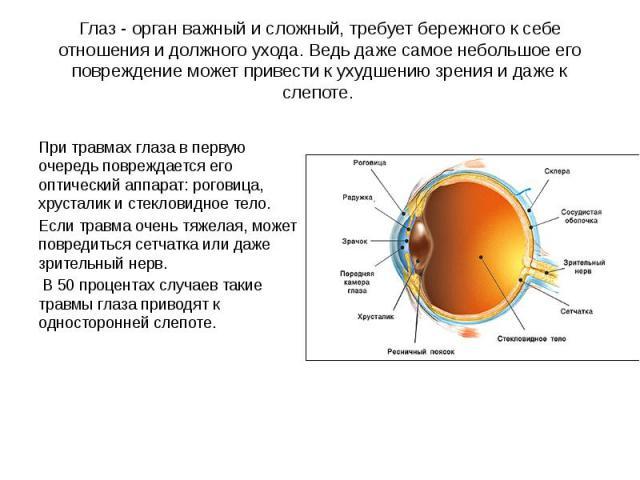 Глаз - орган важный и сложный, требует бережного к себе отношения и должного ухода. Ведь даже самое небольшое его повреждение может привести к ухудшению зрения и даже к слепоте. При травмах глаза в первую очередь повреждается его оптический аппарат:…