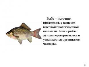 Рыба – источник питательных веществ высокой биологической ценности. Белки рыбы л