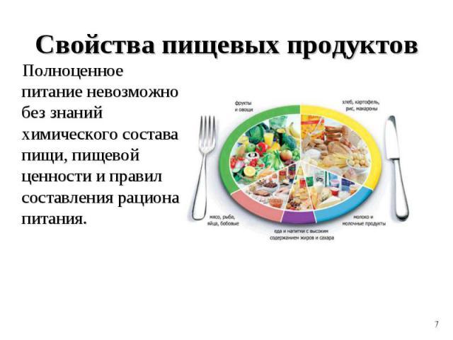 Полноценное питание невозможно без знаний химического состава пищи, пищевой ценности и правил составления рациона питания. Полноценное питание невозможно без знаний химического состава пищи, пищевой ценности и правил составления рациона питания.