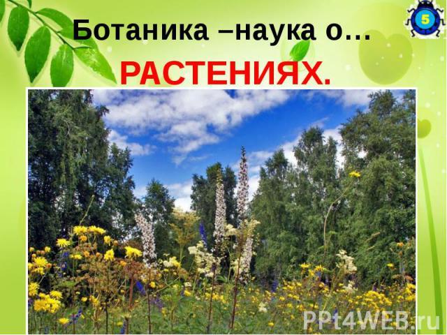 Ботаника –наука о… РАСТЕНИЯХ.