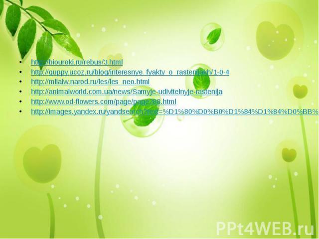 http://biouroki.ru/rebus/3.html http://guppy.ucoz.ru/blog/interesnye_fyakty_o_rastenijakh/1-0-4 http://milaiw.narod.ru/les/les_neo.html http://animalworld.com.ua/news/Samyje-udivitelnyje-rastenija http://www.od-flowers.com/page/page288.html http://i…