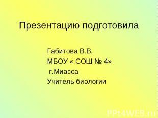 Габитова В.В. Габитова В.В. МБОУ « СОШ № 4» г.Миасса Учитель биологии