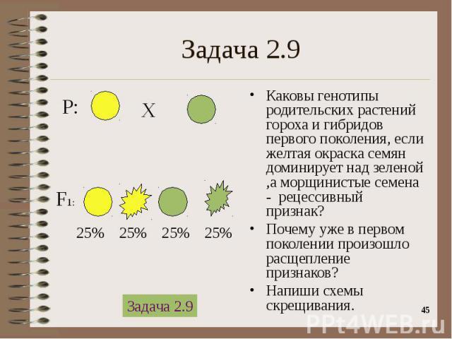 Каковы генотипы родительских растений гороха и гибридов первого поколения, если желтая окраска семян доминирует над зеленой ,а морщинистые семена - рецессивный признак? Каковы генотипы родительских растений гороха и гибридов первого поколения, если …