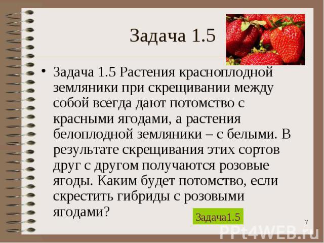 Задача 1.5 Растения красноплодной земляники при скрещивании между собой всегда дают потомство с красными ягодами, а растения белоплодной земляники – с белыми. В результате скрещивания этих сортов друг с другом получаются розовые ягоды. Каким будет п…