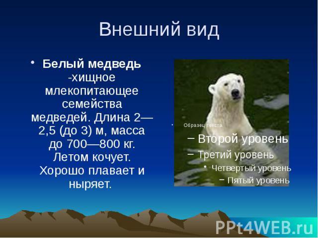 Внешний вид Белый медведь -хищное млекопитающее семейства медведей. Длина2—2,5 (до3)м, масса до 700—800кг. Летом кочует. Хорошо плавает и ныряет.