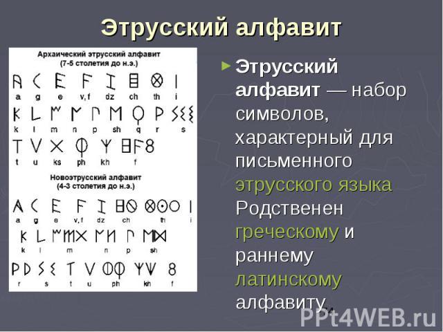 Этрусский алфавит Этрусский алфавит — набор символов, характерный для письменного этрусского языка Родственен греческому и раннему латинскому алфавиту