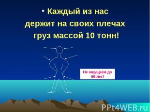 Каждый из нас Каждый из нас держит на своих плечах груз массой 10 тонн!