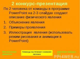 По 2 человека от команды в программе PowerPoint на 2-3 слайдах создают описание