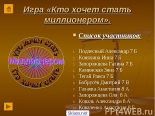 Список участников: Список участников: Подлесный Александр 7 Б Коняхина Инна 7 Б