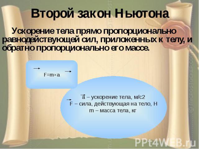 Второй закон Ньютона Ускорение тела прямо пропорционально равнодействующей сил, приложенных к телу, и обратно пропорционально его массе.