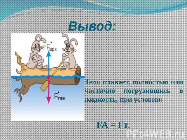 Вывод: Тело плавает, полностью или частично погрузившись в жидкость, при условии: FA = Fт.