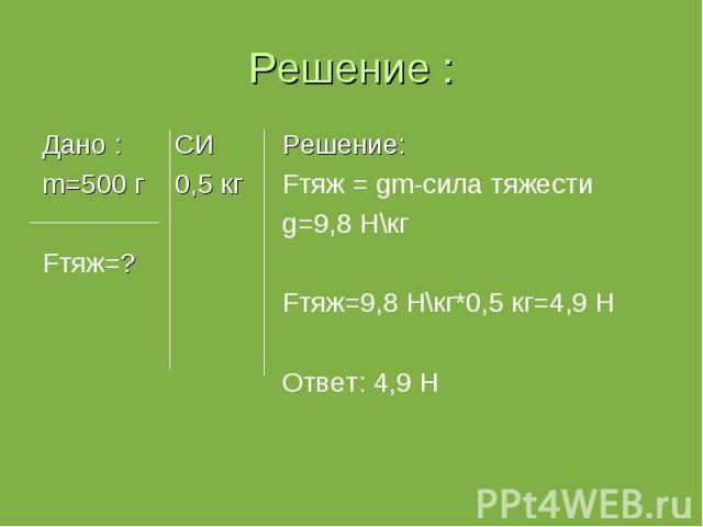 Дано : СИ Дано : СИ m=500 г 0,5 кг Fтяж=?
