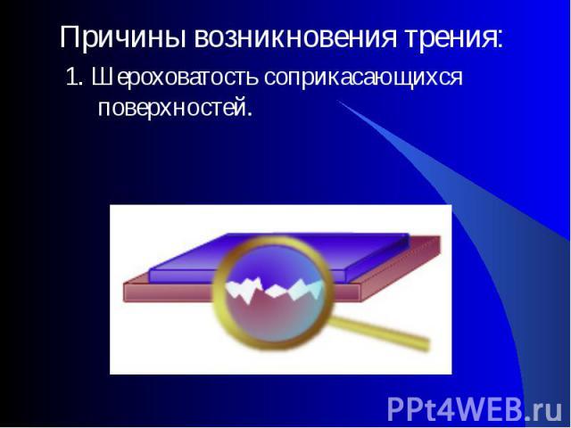Причины возникновения трения: Причины возникновения трения: 1. Шероховатость соприкасающихся поверхностей.