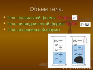 Тело правильной формы V=abc ( ) Тело правильной формы V=abc ( ) Тело цилиндричес