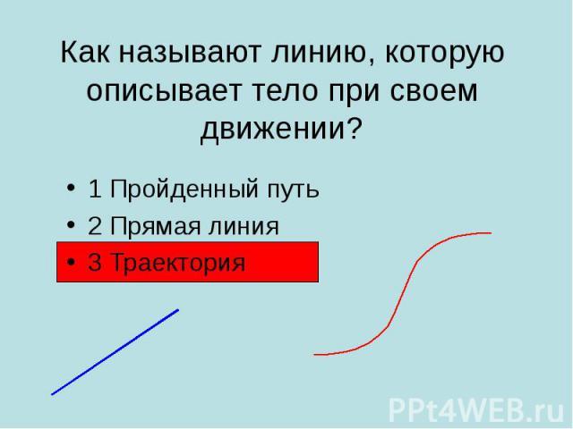 1 Пройденный путь 1 Пройденный путь 2 Прямая линия 3 Траектория