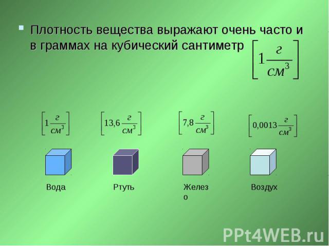 Плотность вещества выражают очень часто и в граммах на кубический сантиметр Плотность вещества выражают очень часто и в граммах на кубический сантиметр