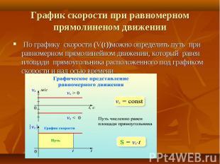 По графику скорости (V(t))можно определить путь при равномерном прямолинейном дв