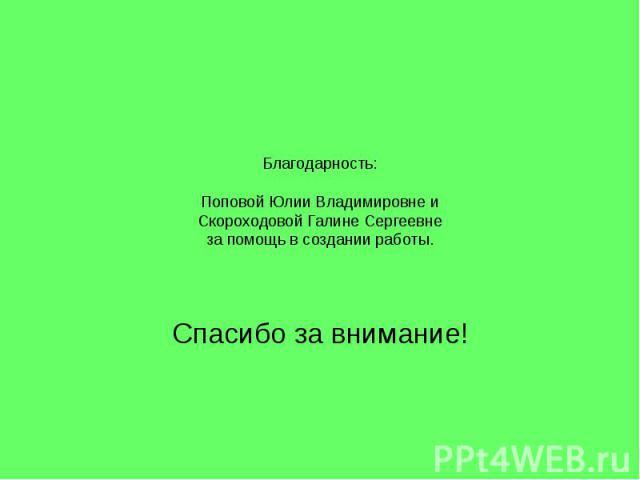 Благодарность: Поповой Юлии Владимировне и Скороходовой Галине Сергеевне за помощь в создании работы. Спасибо за внимание!