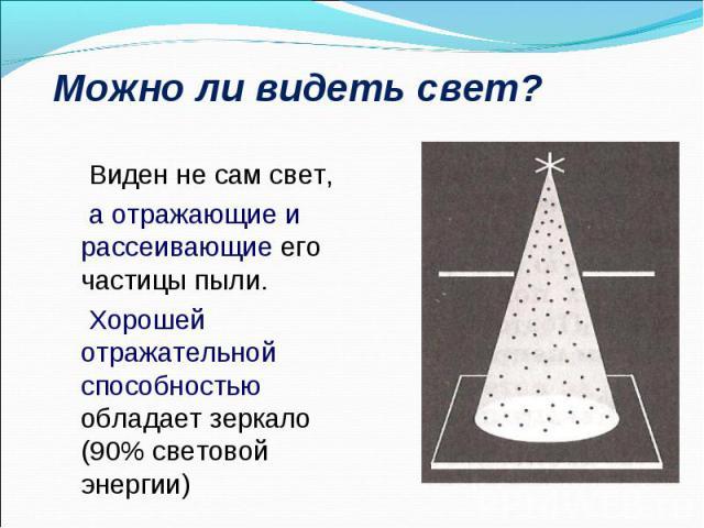 Виден не сам свет, Виден не сам свет, а отражающие и рассеивающие его частицы пыли. Хорошей отражательной способностью обладает зеркало (90% световой энергии)