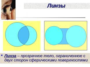 Линза – прозрачное тело, ограниченное с двух сторон сферическими поверхностями Л