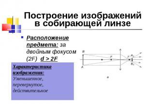 Расположение предмета: за двойным фокусом (2F) d > 2F Расположение предмета:
