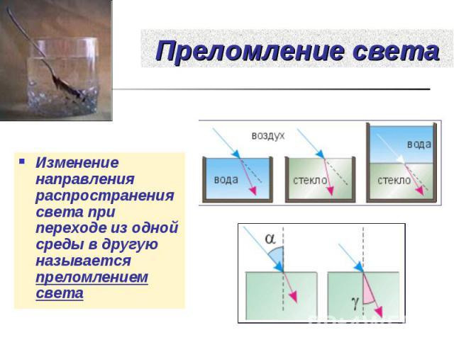 Изменение направления распространения света при переходе из одной среды в другую называется преломлением света Изменение направления распространения света при переходе из одной среды в другую называется преломлением света