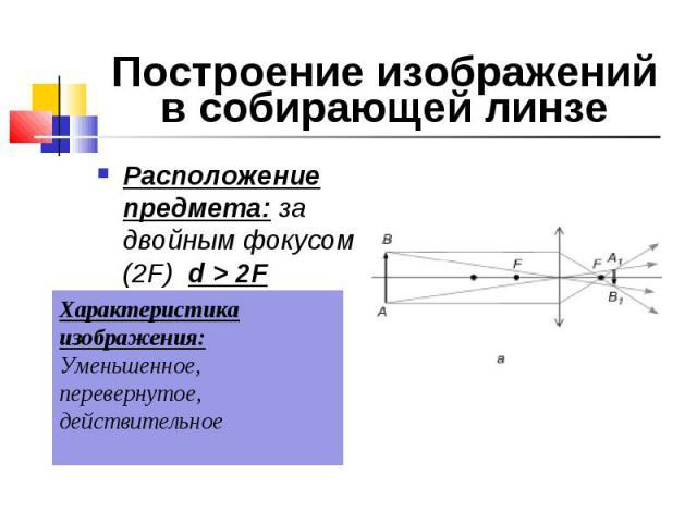 Расположение предмета: за двойным фокусом (2F) d > 2F Расположение предмета: за двойным фокусом (2F) d > 2F