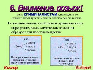 По перечисленным свойствам и признакам газов определите, какие химические элемен