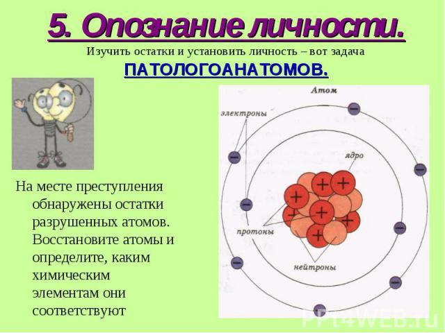 На месте преступления обнаружены остатки разрушенных атомов. Восстановите атомы и определите, каким химическим элементам они соответствуют На месте преступления обнаружены остатки разрушенных атомов. Восстановите атомы и определите, каким химическим…