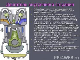 Рабочий цикл 4-тактного карбюраторного ДВС совершается за 4 хода поршня (такта),