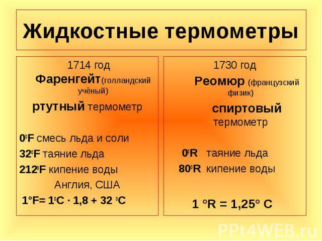 1714 год Фаренгейт(голландский учёный) 1714 год Фаренгейт(голландский учёный) ртутный термометр 00F смесь льда и соли 320F таяние льда 2120F кипение воды Англия, США 1°F= 10С · 1,8 + 32 0С