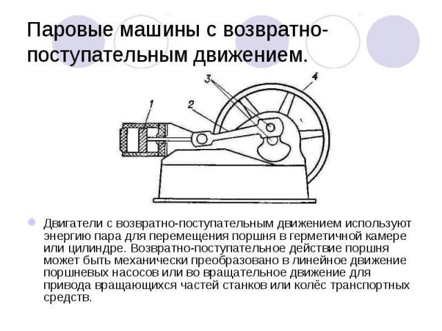 Двигатели с возвратно-поступательным движением используют энергию пара для перемещения поршня в герметичной камере или цилиндре. Возвратно-поступательное действие поршня может быть механически преобразовано в линейное движение поршневых насосов или …