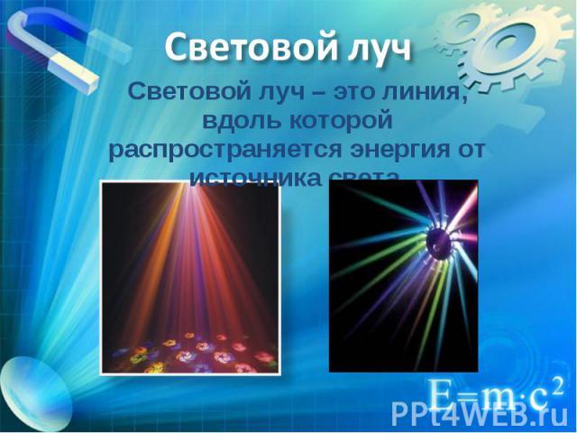 Световой луч – это линия, вдоль которой распространяется энергия от источника света. Световой луч – это линия, вдоль которой распространяется энергия от источника света.